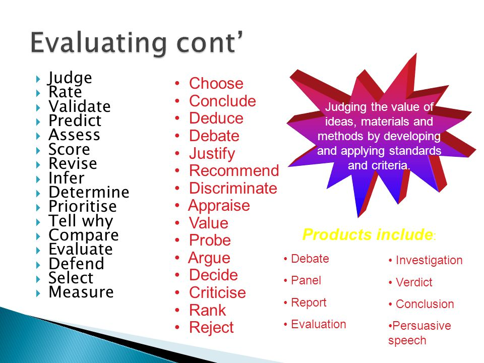 Evaluating cont' Judge Rate Validate Predict Assess Score Revise Infer