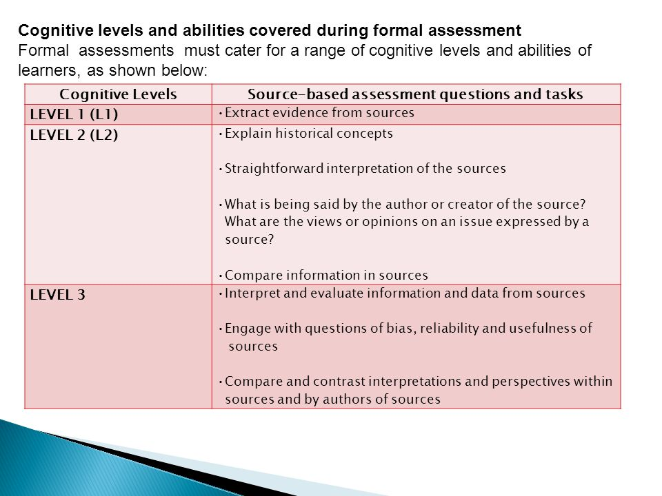Source-based assessment questions and tasks