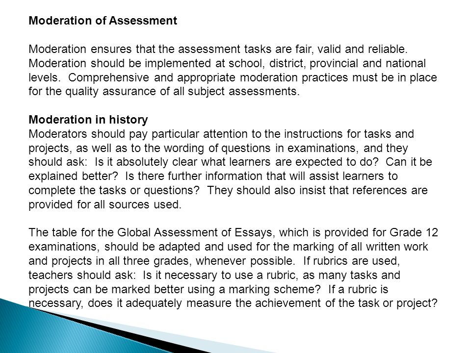 Moderation of Assessment