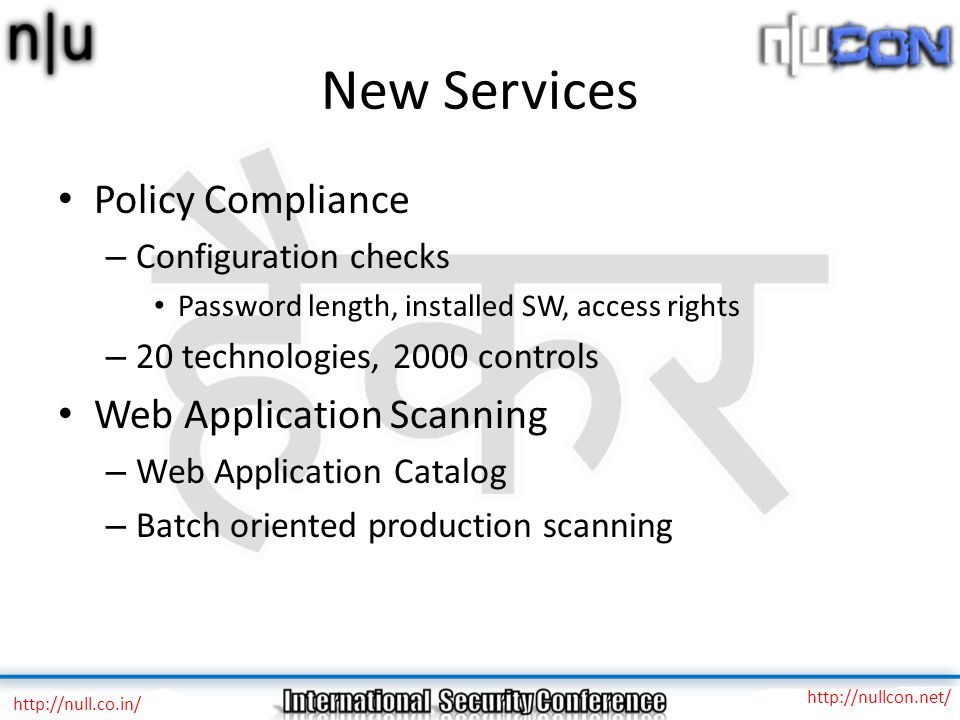 New Services Policy Compliance Web Application Scanning
