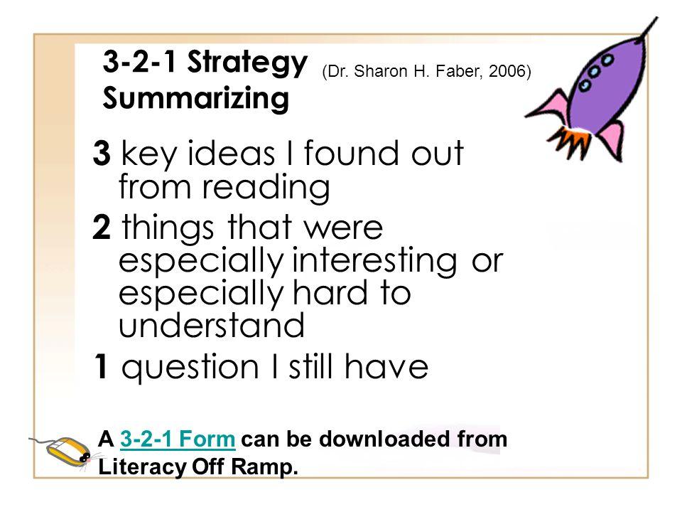 3-2-1 Strategy Summarizing