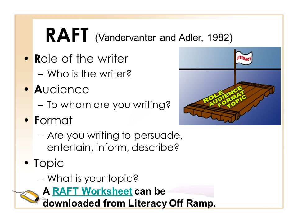 RAFT Role of the writer Audience Format Topic