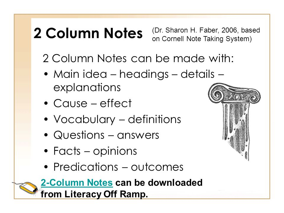 2 Column Notes 2 Column Notes can be made with: