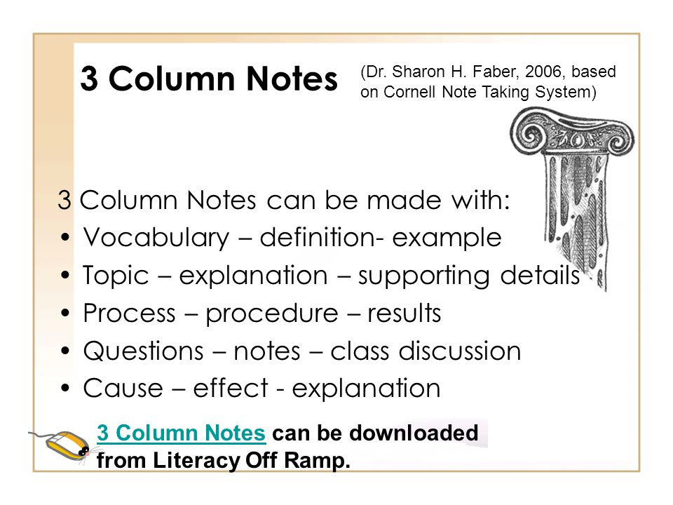 3 Column Notes 3 Column Notes can be made with:
