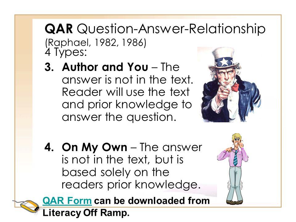 QAR Question-Answer-Relationship (Raphael, 1982, 1986)