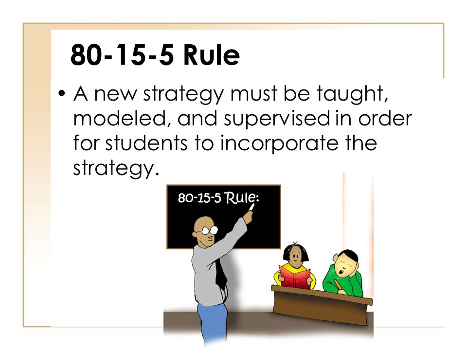 80-15-5 Rule A new strategy must be taught, modeled, and supervised in order for students to incorporate the strategy.