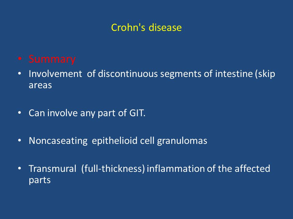 Summary Crohn s disease