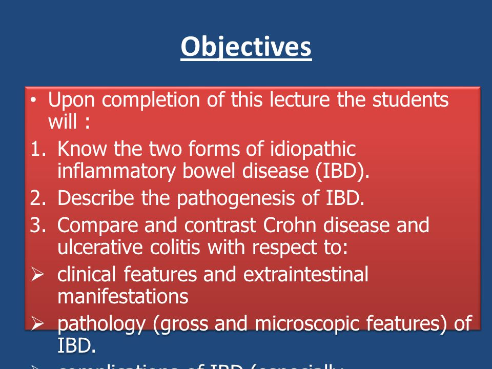 Objectives Upon completion of this lecture the students will :