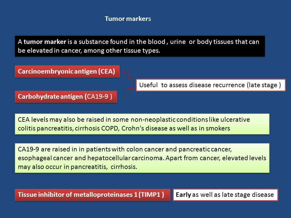 Tumor markers A tumor marker is a substance found in the blood , urine or body tissues that can be elevated in cancer, among other tissue types.