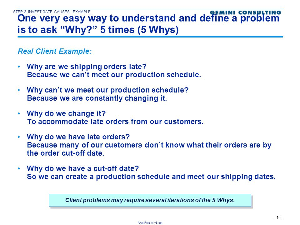 Client problems may require several iterations of the 5 Whys.