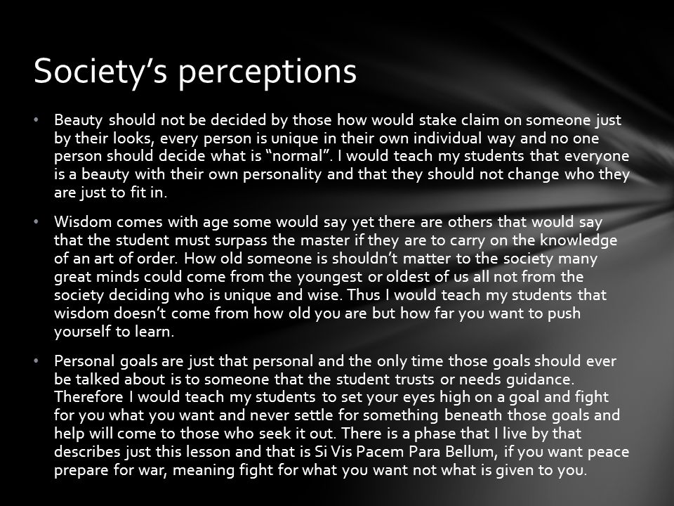 Society's perceptions