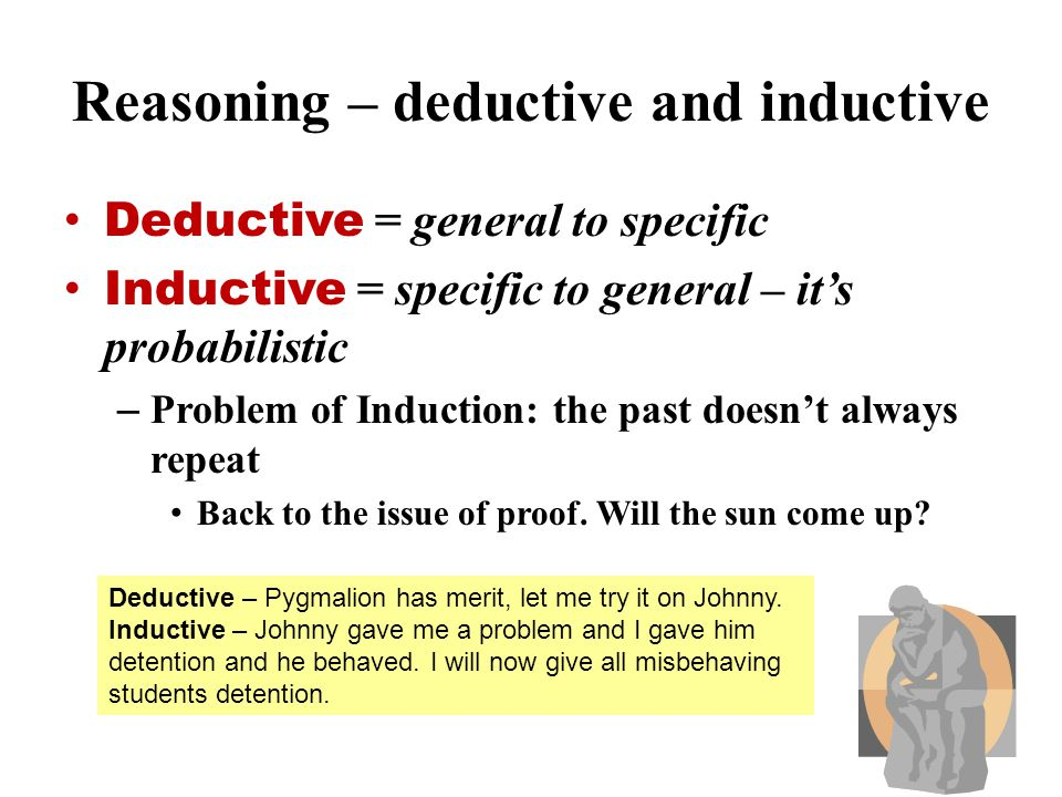 Reasoning – deductive and inductive