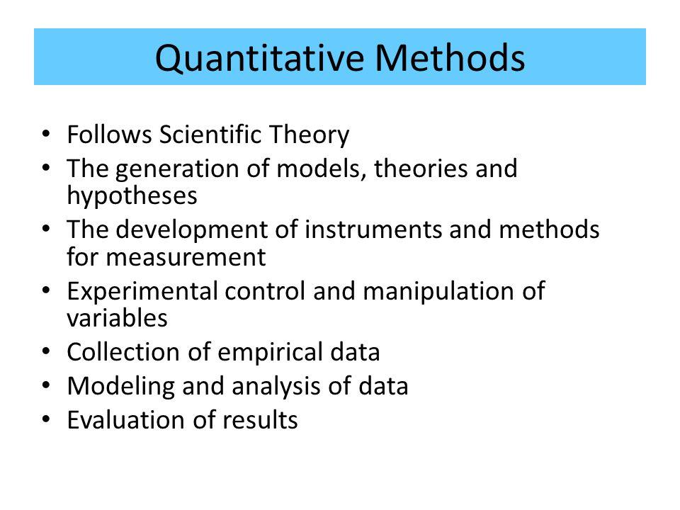 Quantitative Methods Follows Scientific Theory