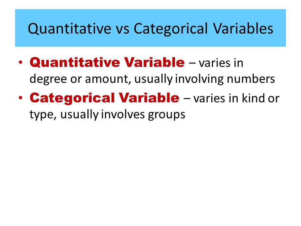 Quantitative vs Categorical Variables