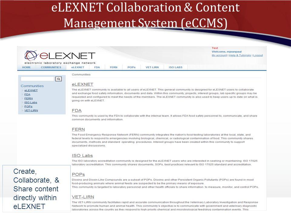 eLEXNET Collaboration & Content Management System (eCCMS)