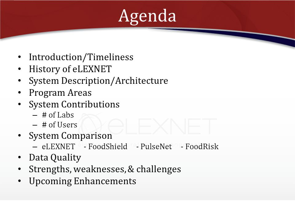 Agenda Introduction/Timeliness History of eLEXNET