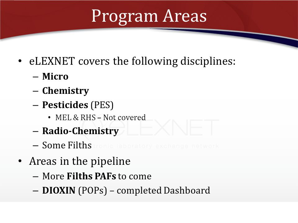 Program Areas eLEXNET covers the following disciplines:
