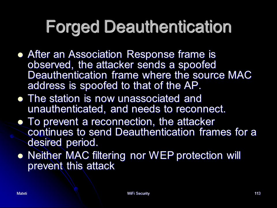 Forged Deauthentication
