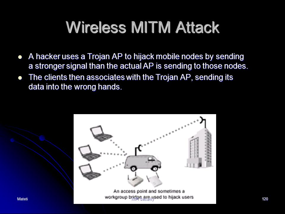 Wireless MITM Attack A hacker uses a Trojan AP to hijack mobile nodes by sending a stronger signal than the actual AP is sending to those nodes.