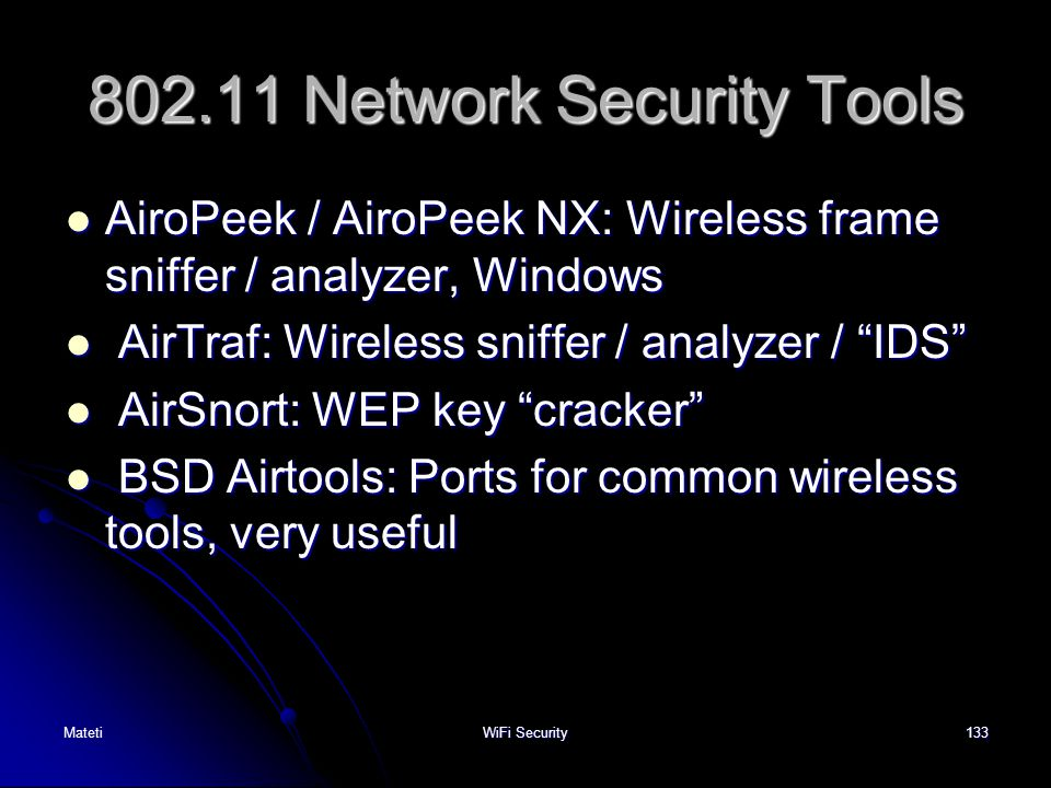 802.11 Network Security Tools