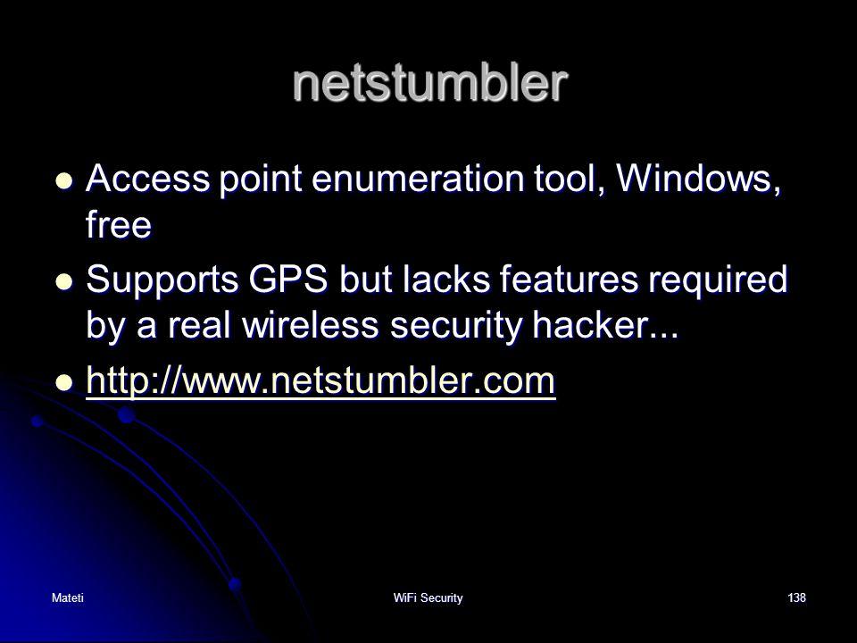 netstumbler Access point enumeration tool, Windows, free
