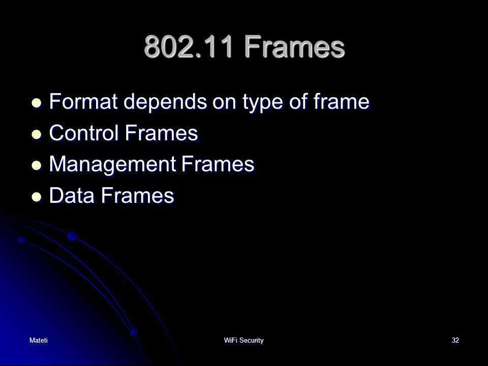 802.11 Frames Format depends on type of frame Control Frames