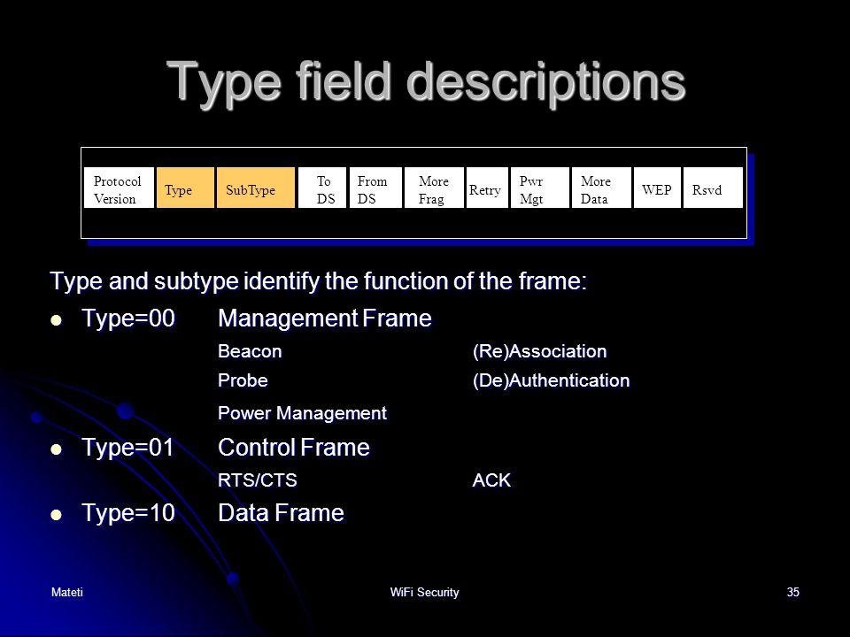 Type field descriptions