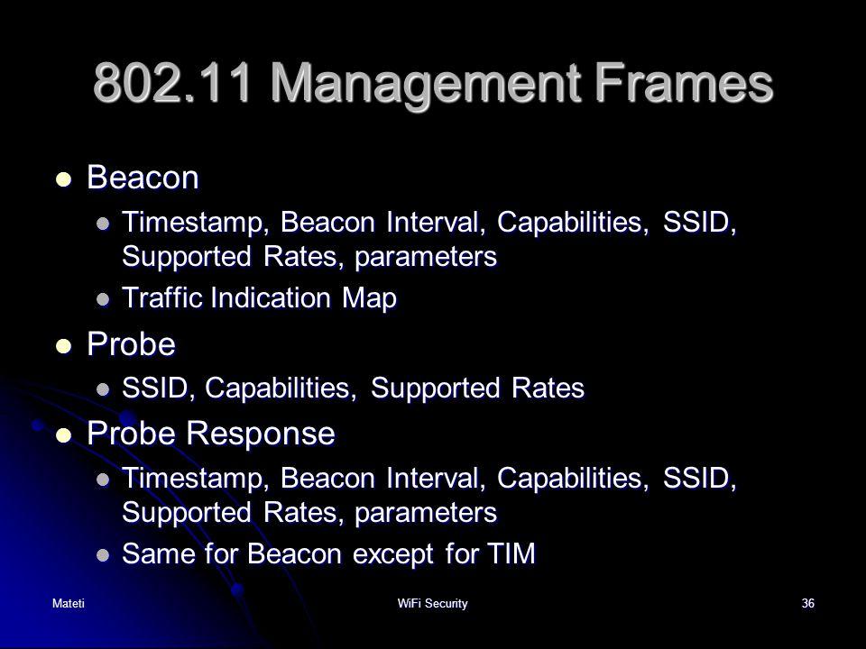 802.11 Management Frames Beacon Probe Probe Response
