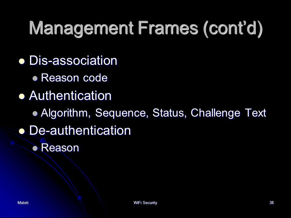 Management Frames (cont'd)