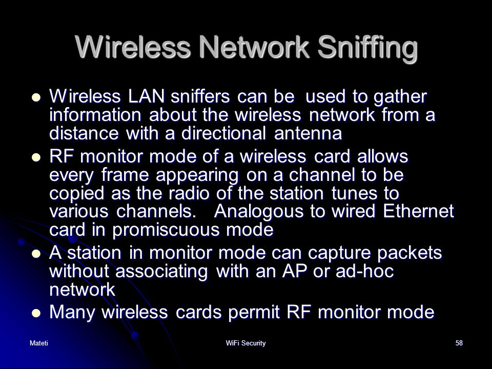 Wireless Network Sniffing