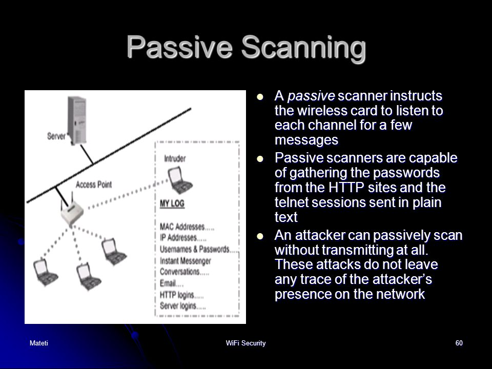 Passive Scanning A passive scanner instructs the wireless card to listen to each channel for a few messages.