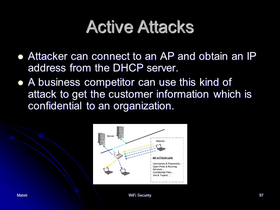 Active Attacks Attacker can connect to an AP and obtain an IP address from the DHCP server.