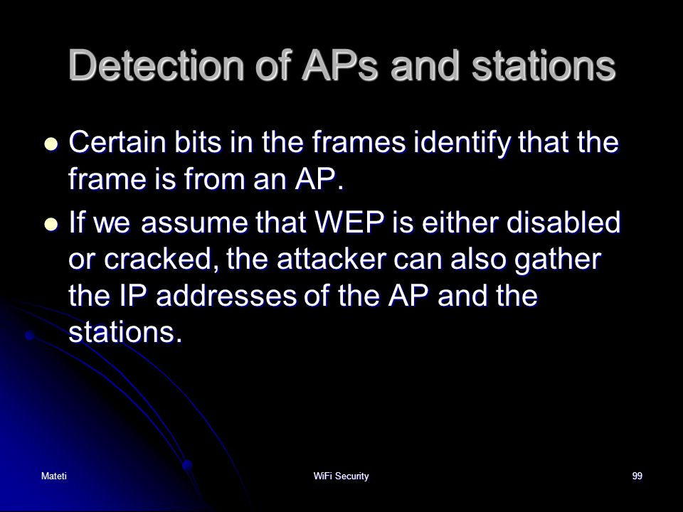 Detection of APs and stations