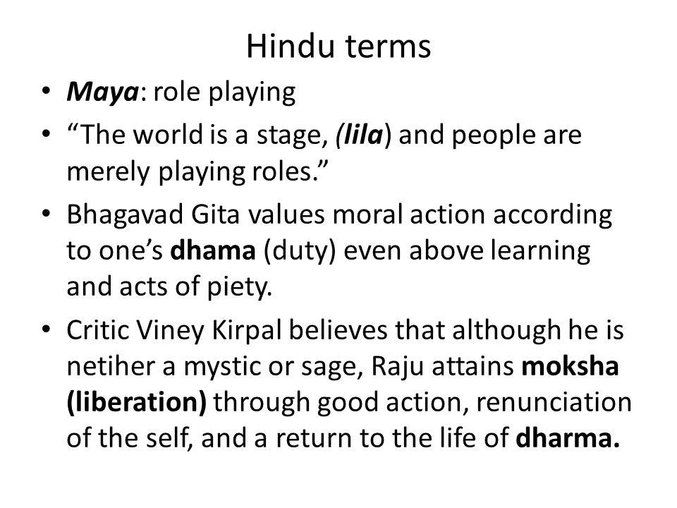 Hindu terms Maya: role playing