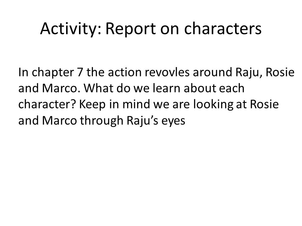 Activity: Report on characters