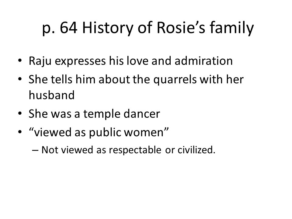 p. 64 History of Rosie's family