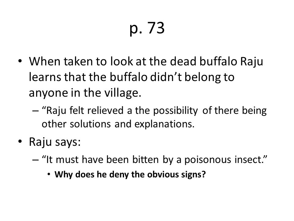 p. 73 When taken to look at the dead buffalo Raju learns that the buffalo didn't belong to anyone in the village.