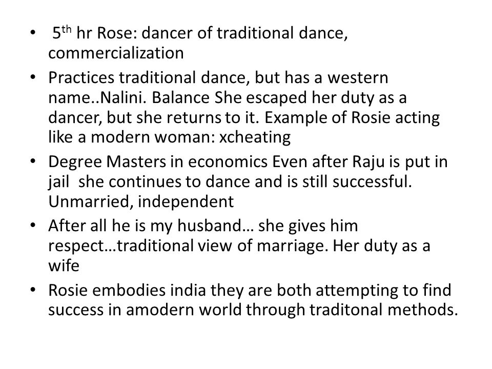 5th hr Rose: dancer of traditional dance, commercialization