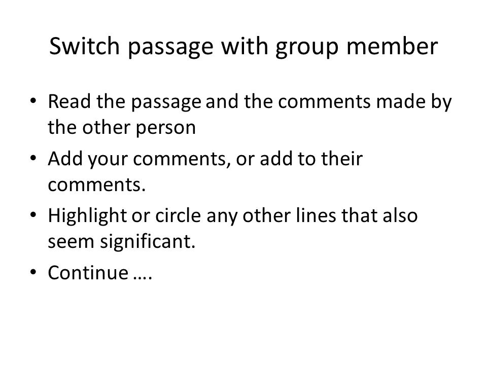 Switch passage with group member