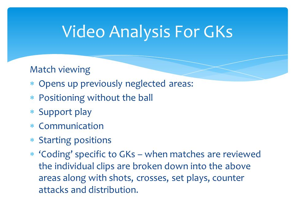 Video Analysis For GKs Match viewing