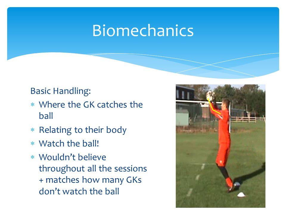 Biomechanics Basic Handling: Where the GK catches the ball