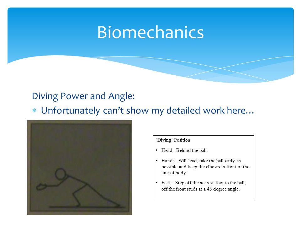 Biomechanics Diving Power and Angle: