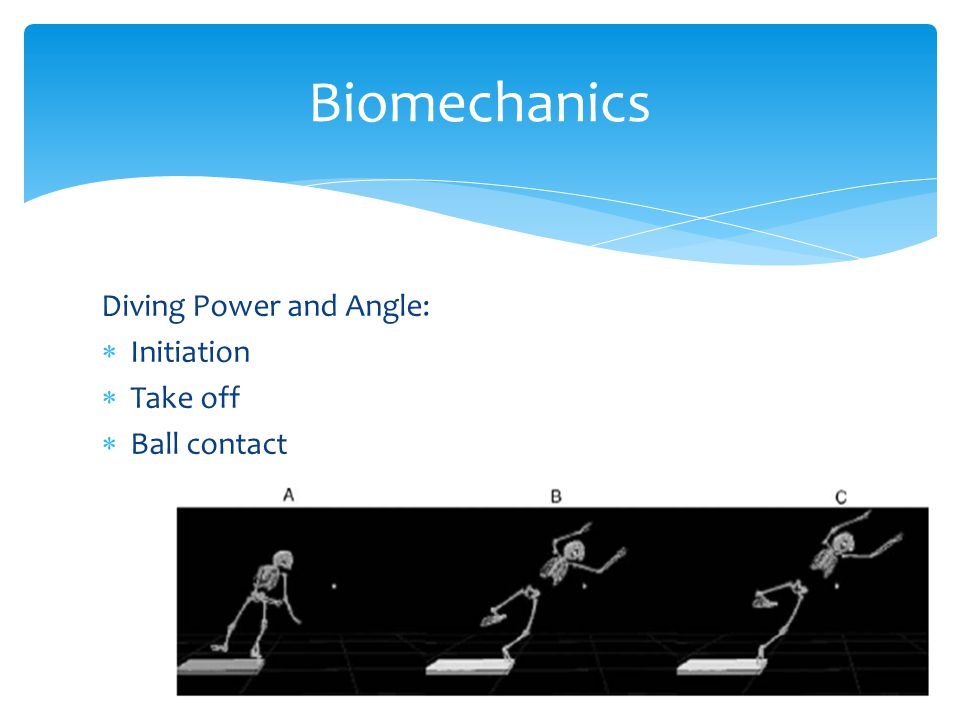 Biomechanics Diving Power and Angle: Initiation Take off Ball contact
