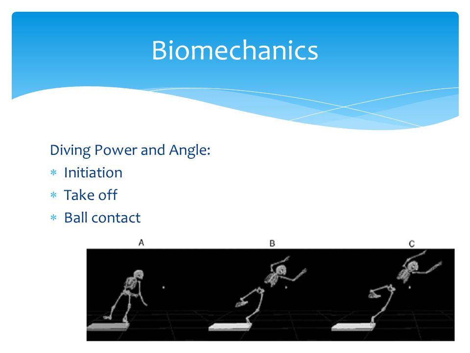 Biomechanics Diving Power and Angle: Initiation Take off Ball contact