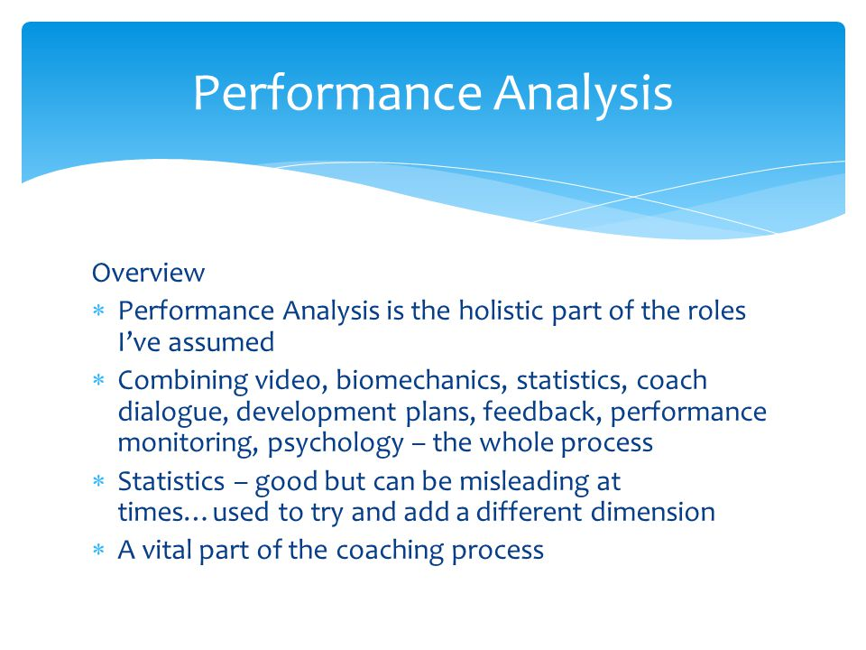 Performance Analysis Overview