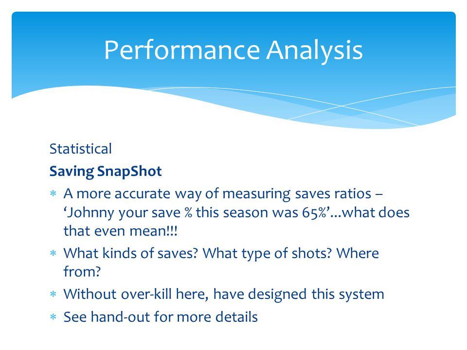 Performance Analysis Statistical Saving SnapShot