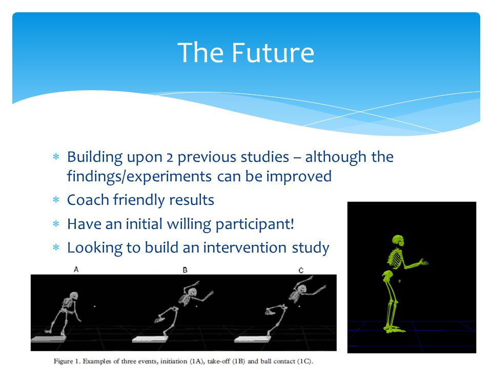 The Future Building upon 2 previous studies – although the findings/experiments can be improved. Coach friendly results.