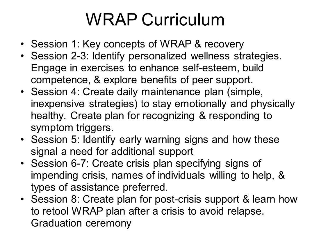 WRAP Curriculum Session 1: Key concepts of WRAP & recovery