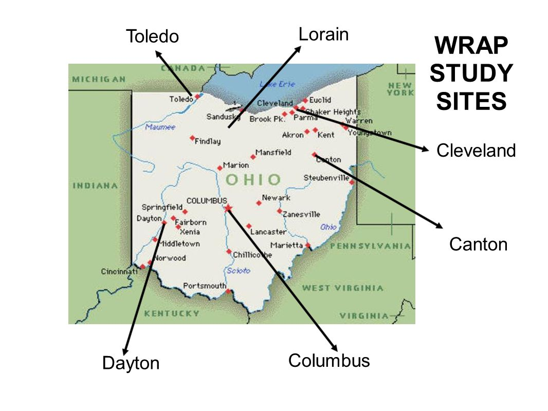 Toledo Lorain WRAP STUDY SITES Cleveland Canton Dayton Columbus