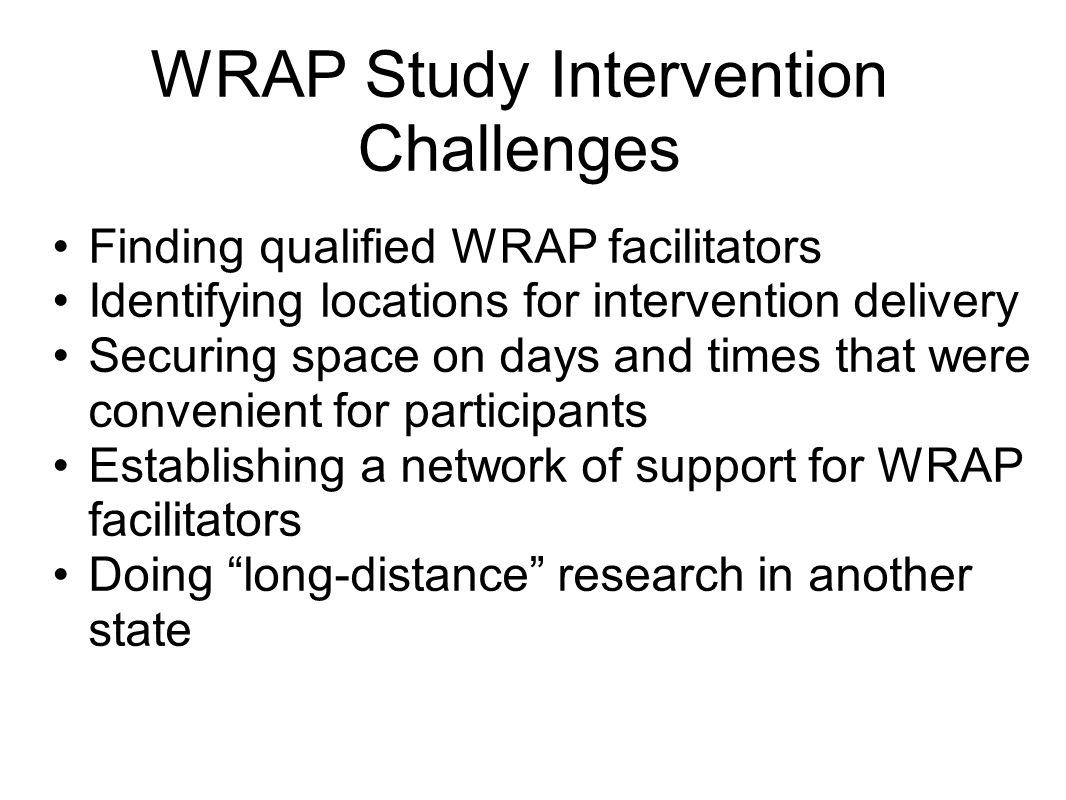 WRAP Study Intervention Challenges